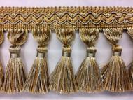 "3.5"" Tassel Fringe (silver blue/beige & gold) TF-5/40-3-12"