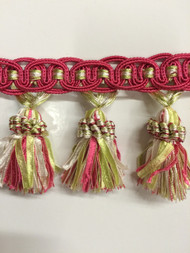 "4"" TASSEL FRINGE -16/20-13-1     HOT PINK,MINT & WHITE       THIS ITEM IS SOLD BY CUT YARDAGE ONLY"