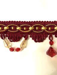 "3"" TASSEL FRINGE -28/32-12     CRANBERRY & ANTIQUE GOLD"