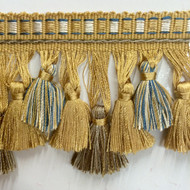 "3.5"" TASSEL FRINGE -42/3-7-42           BEIGE,LIGHT BROWN & TEAL BLUE"