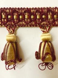 """3"""" TASSEL FRINGE -43/12-33      ANTIQUE GOLD & BURGUNDY"""