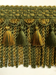 "6"" BULLION TASSEL FRINGE-1/17-11     LODEN GREEN & GOLD"