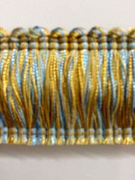 "2"" BRUSH FRINGE-1/38-11  LIGHT BLUE & GOLD"