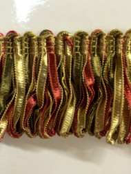 "2"" LOOP RIBBON FRINGE -1/17-32           LODEN GREEN & CRANBERRY"