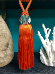 "12"" CRYSTAL TASSEL CURTAIN TIEBACK-18/35            ORANGE/RUST"