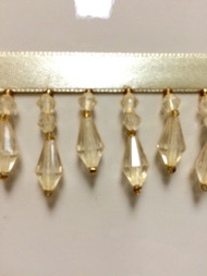 "1.5"" CRYSTAL BEADED FRINGE-3/2      CREAM"