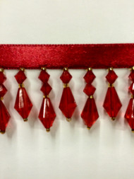 "1.5"" CRYSTAL BEADED FRINGE-3/30       RED"