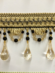"4"" BEADED TASSEL FRINGE -46/3-47       BEIGE & BLACK"