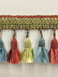 "3"" TASSEL FRINGE -53/13-19-38       MINT GREEN ,PINK & LIGHT BLUE"