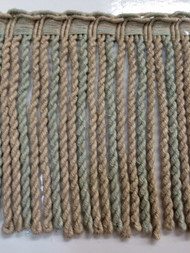 "6"" LINEN BULLION FRINGE-6-L/6-39        NATURAL TAN & AQUA BLUE"