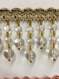 "2.5"" CRYSTAL BEADED TASSEL FRINGE -49/3-1      BEIGE,CLEAR & GOLD"
