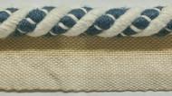"""3/8"""" LINEN  ROUND CORD EDGE CE-2-L/2-55          OFF WHITE & INDIGO BLUE"""