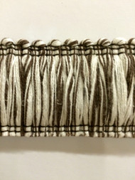 "2"" LINEN BRUSH FRINGE-1-L/2-8   NATURAL & CHOCOLATE BROWN"