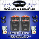 Chauvet DJ EZ Wedge Tri Battery Operated 4 Pack + Extras!