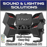(4) Chauvet DJ Freedom H1 System D-Fi Rechargable LED Wash Lights Case & Remote