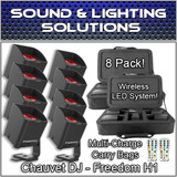 (8) Chauvet DJ Freedom H1 System D-Fi Rechargable LED Wash Lights Case & Remote