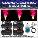 (4) Chauvet DJ Geyser P7 Fog Machine (RGBA+UV) LED Pyro Effects Package +Extras!