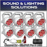 Chauvet DJ (8) SlimPar Pro H USB Slimpar Pro H Hex RGBAW+UV LED (D-Fi Pkg White)