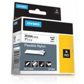 "Label RhinoPRO 1"" White Flexible Nylon Black Print"