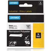 "Label RhinoPRO 1/4"" Clear Permanent Polyester Black Print"