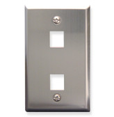Face Plate 2 Port Stainless Steel for flush mounting jacks