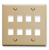 Face Plate Double Gang 8 Port Ivory ICC