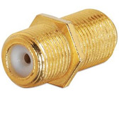 Coupler, F-Type F/F, gold plated brass, w/ nut and washer
