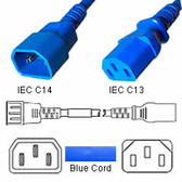 Power Cord 3' C14 to C13 Power Cords - Blue