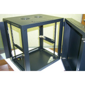 """Wall Mount Cabinet 15U 23.6""""Wx23.6""""Dx30.25""""H Swing Out Black"""