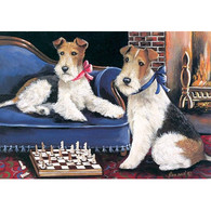 Wire Fox Terrier Greeting Cards Checkmates