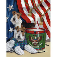 Wire Fox Terrier Stars & Stripes Garden Flag