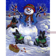 Scottie Scottish Terrier Snowman Flag
