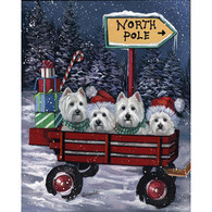 Westie Red Wagon Holiday Flag