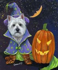 Westie Good Witch Halloween Flag