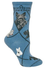 Scottie Scottish Terrier Socks Blue