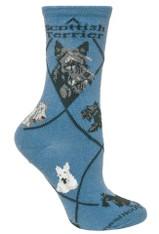 Scottie Scottish Terrier Socks Blue