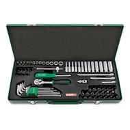"Toptul GCAD7202 1/4"" DR. 6PT Socket & Ball Point Hex Key Wrench Set 72pcs"