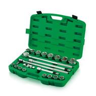 """Toptul GCAI2102 Professional Grade - 3/4"""" Dr. 6PT Flank Socket Set 21pcs"""