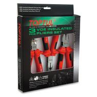 Toptul GAAE0301 3PCS VDE Insulated Pliers Set