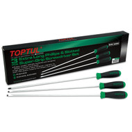 Toptul GAAE0306 Extra Long Slotted and Phillips Super-Grip Screwdriver Set 3pcs