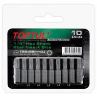 """Toptul FSEA0840G 1/4"""" Hex Shank Star Insert Bits T40x25mm 10pcs"""