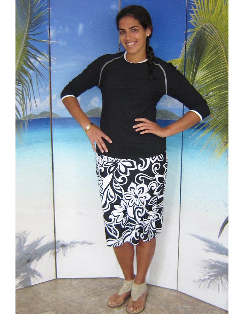 style-2629-top-worn-with-style-2622-black-floral-skirt-on-model-1.jpg