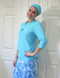 Ladies hair covering in style A in Aqua to match style 2630 Aqua Floral