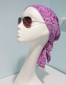 Hair covering Style C in Floral Orchid