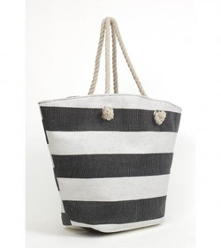 Nautical straw beach tote black and white stripes