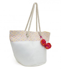 Oversize beach tote with pom poms