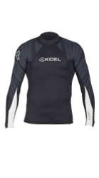 Xcel Surf Axis Basic 2/1mm L/S Rashguard - Black/Tiger Mesh/White
