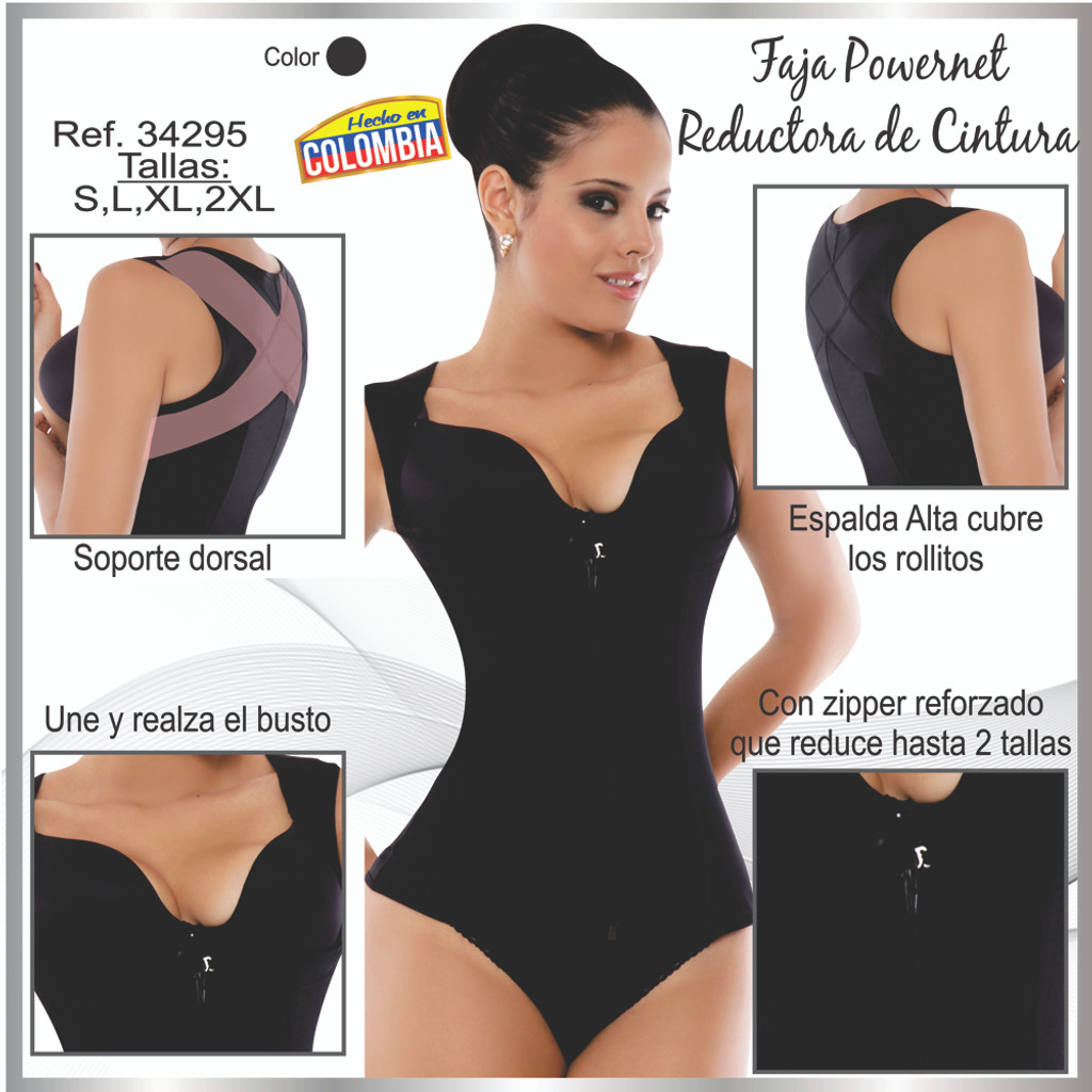 Ann Michell 5055 Eva Powernet Vest - Latex Free Black Fajas Colombianas Chaleco