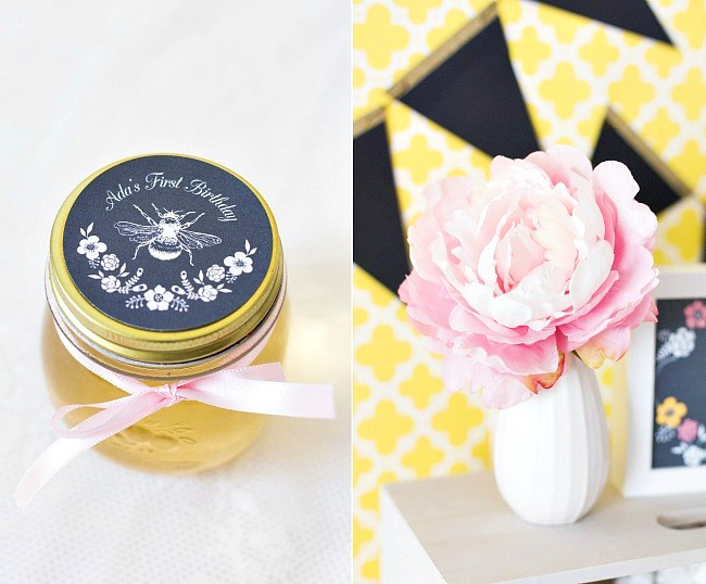 Pink And Yellow Bumble Bee 1st Birthday