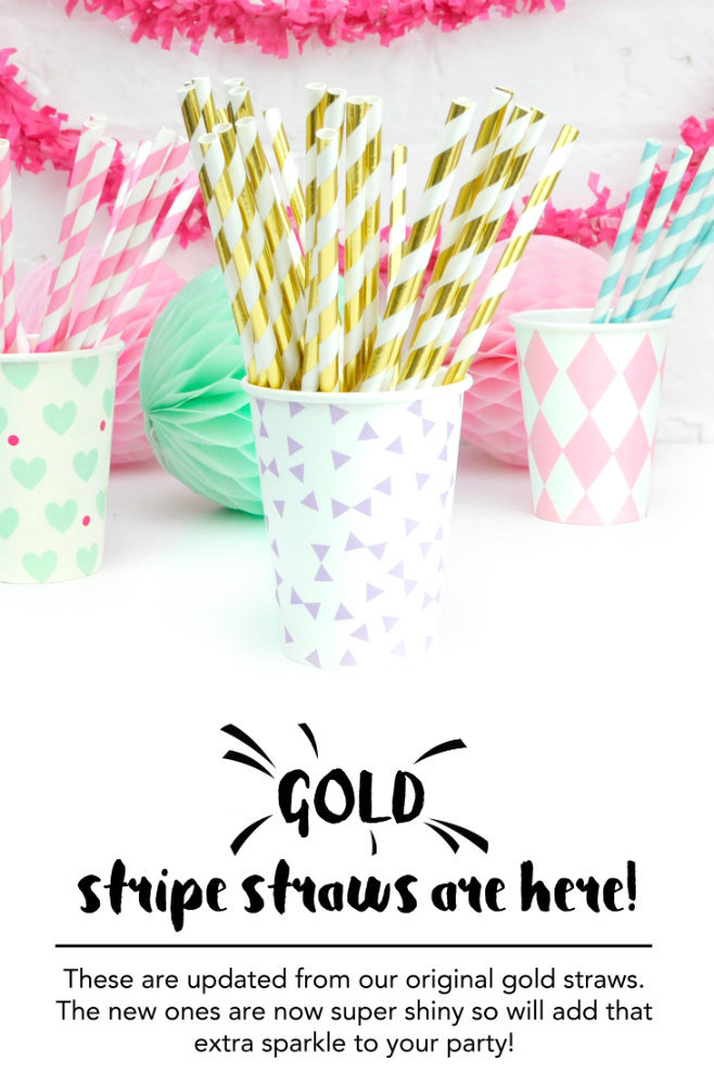 Metallic Gold Stripe Straws